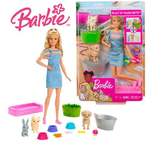 Barbie Gama Family - Set de joaca papusa si animalutele domestice