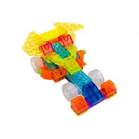 Set constructie Cubix piese transparente cu LED model masinuta 4 in 1 74 piese