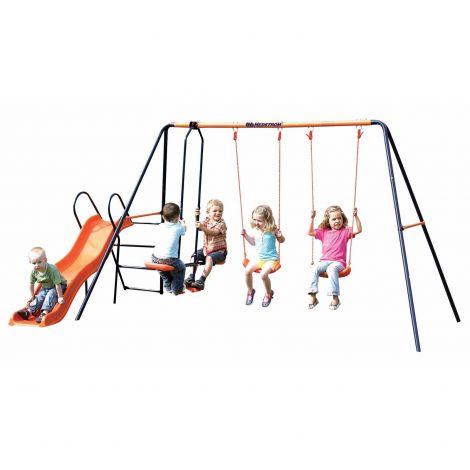 Leagan dublu cu balansoar si tobogan MVS Europa pentru copii combinate
