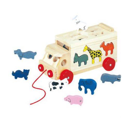 Masinuta din lemn cu Forme de Animalute