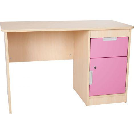 Birou cu sertar si dulapior Quadro artar cu alb - roz deschis