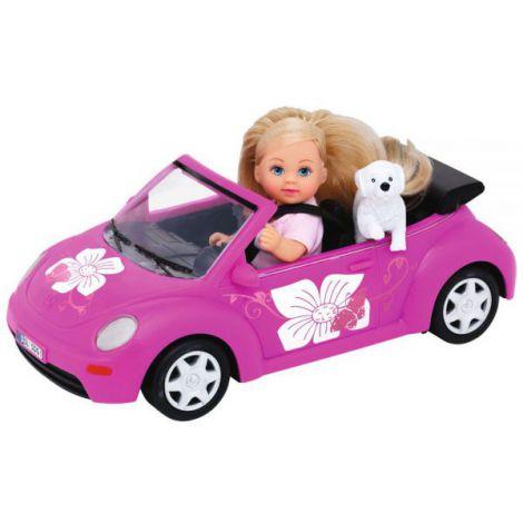 Papusa Simba Evi Love 12 cm Evis Beetle cu masina, catelus si accesorii