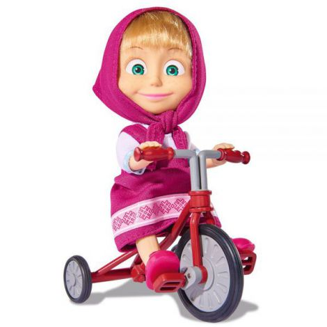 Papusa Simba Masha and the Bear 12 cm Masha cu tricicicleta