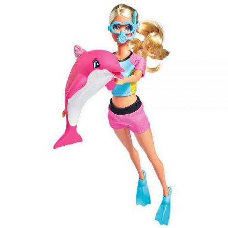Papusa Simba Steffi Love Dolphin Fun 29 Cm Cu Delfin Si Accesorii imagine