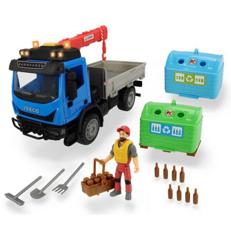 Camion Dickie Toys Playlife Iveco Recycling Container Set Cu Figurina Si Accesorii imagine