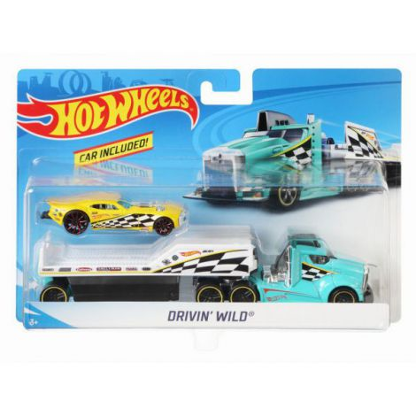 Set Camion Si Masina Sport Hot Wheels Driving Wild