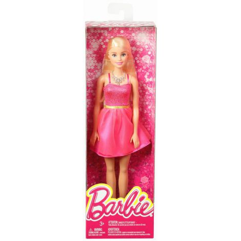 Papusi Barbie Tinute Stralucitoare Blonda Cu Rochita Roz