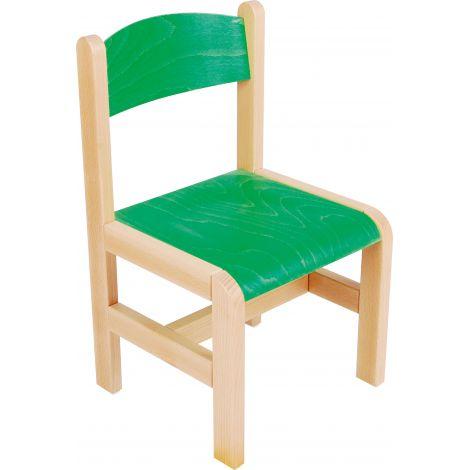 Scaun verde din lemn PF masura 1 pentru gradinita