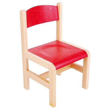 Scaun rosu din lemn masura 1 pentru gradinita