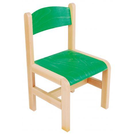 Scaun verde din lemn masura 3 pentru gradinita