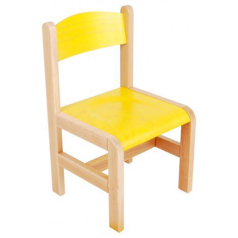 Scaun galben din lemn masura 3 pentru gradinita