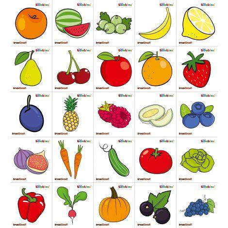Set 25 abtibilduri cu fructe si legume, pentru vestiar