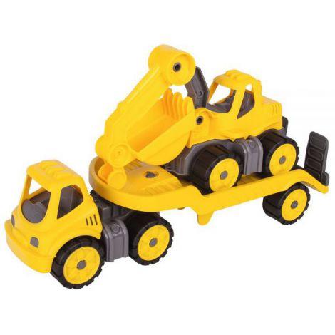 Set Big Camion Cu Remorca Si Excavator Power Worker Mini Transporter With Digger imagine
