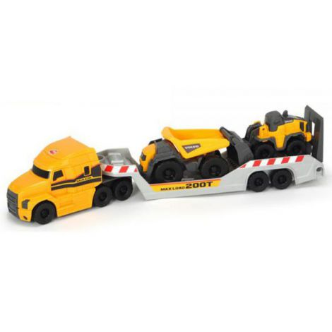 Camion Dickie Toys Mack Volvo Micro Builder Cu Remorca, Buldozer Si Camion Basculant imagine