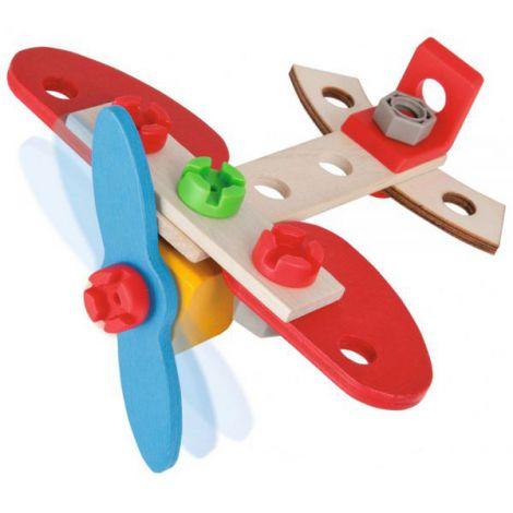 Set Constructie Din Lemn Eichhorn Airplane 18 Piese imagine