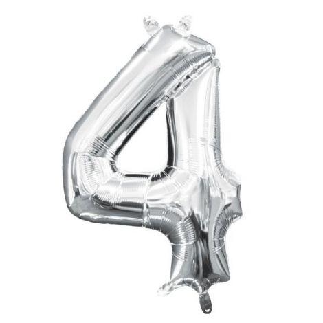 Balon Folie Argintiu Cifra 4 imagine