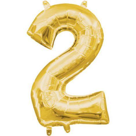 Balon folie auriu cifra 2