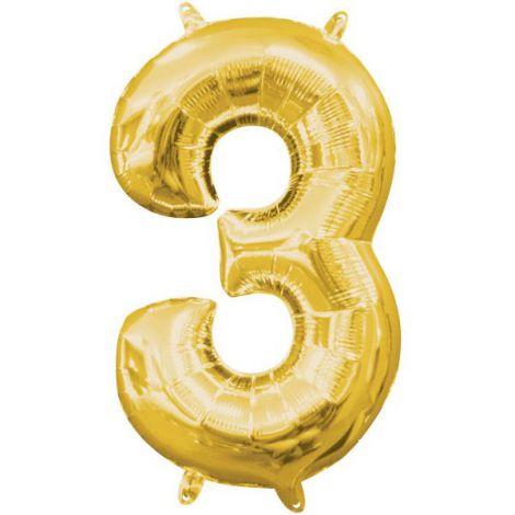 Balon folie auriu cifra 3