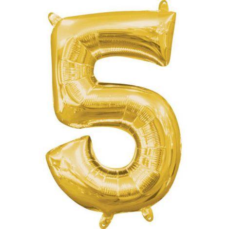Balon folie auriu cifra 5