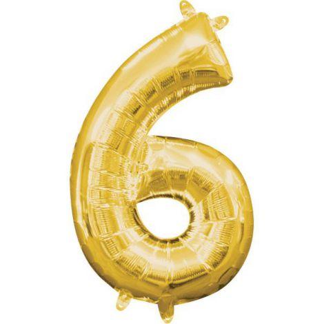 Balon folie auriu cifra 6