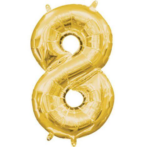 Balon folie auriu cifra 8