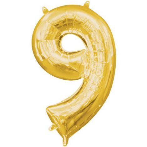 Balon folie auriu cifra 9