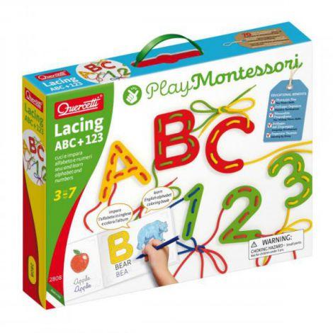 Joc cu sireturi Montessori ABC+123