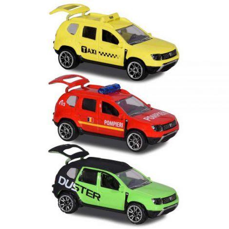 Set Majorette Dacia Duster masina taxi, masina de pompieri si masina negru cu verde