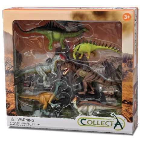 Set 6 figurine Dinozauri pictate manual WB Collecta