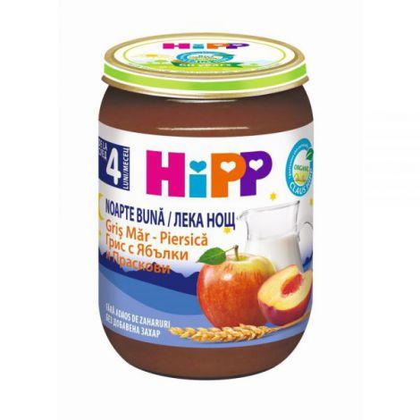 Gris HiPP cu mar si piersica 190g