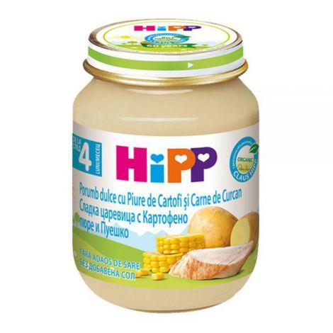 Meniu HiPP curcan cu porumb si piure de cartofi 125g