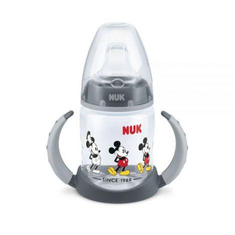Biberon Nuk First Choice 150ml Cu Toarte Si Adaptor Din Silicon Mickey Gri 6 luni+
