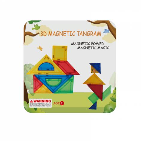 Joc de constructie magnetic - tangram (9 piese)