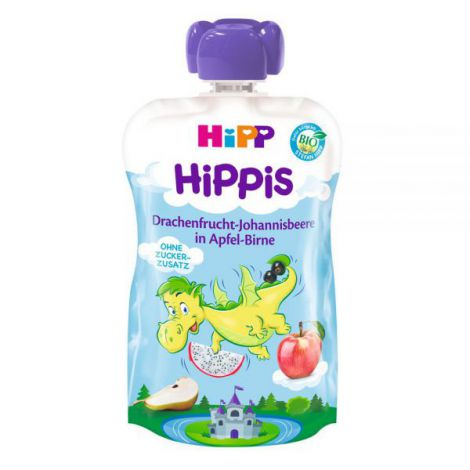 Piure HiPP Hippis fructul dragonului, coacaze negre, mar, para 100 g