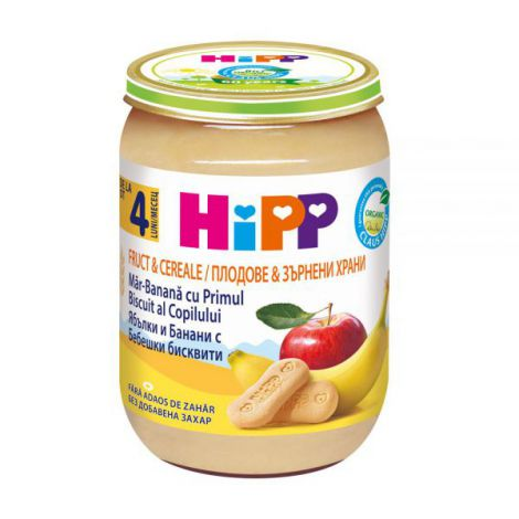 Piure Hipp Fruct & Cereale – mere si banana cu biscuit 190 gr