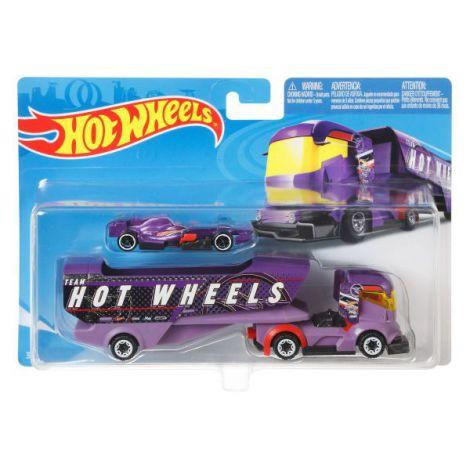Set Camion Si Masina Sport Hot Wheels Big Rig Heat
