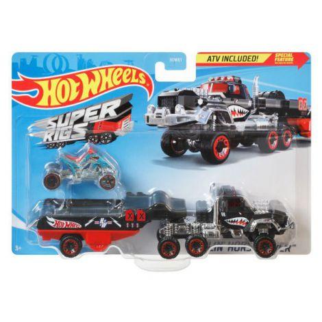 Set Camion Si Masina Sport Hot Wheels Haulin Horsepower