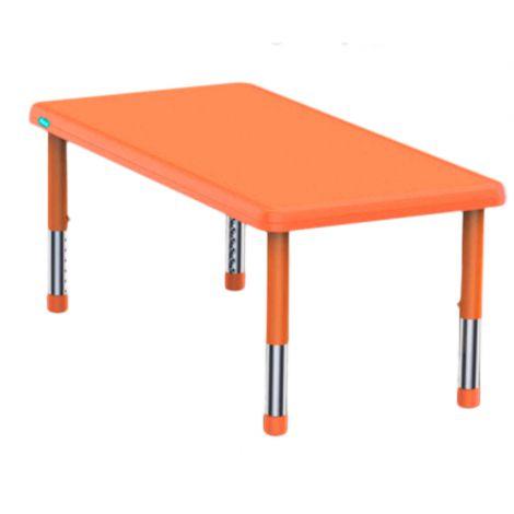 Masa dreptunghiulara portocalie din plastic reglabila marimea 0-3 pentru gradinita