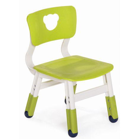 Scaun alb verde lime din plastic pentru gradinita, reglabil marimea 1-2