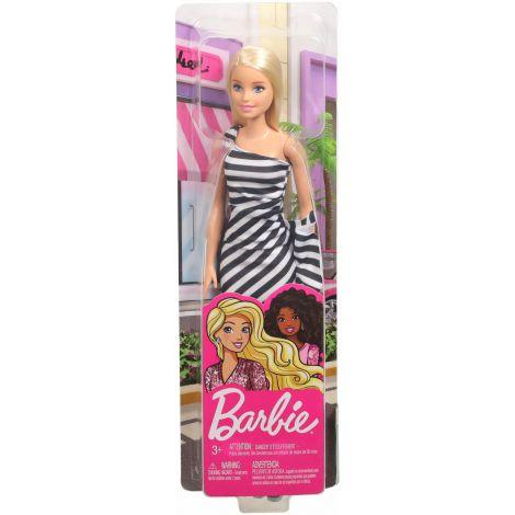 Papusa Barbie Tinute Stralucitoare Blonda Cu Rochita Alb-negru