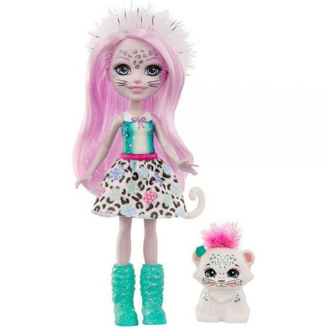 Papusa Enchantimals By Mattel Sybill Snow Leopard Cu Figurina Flake imagine