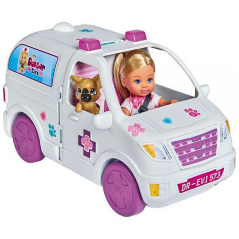 Set Simba Evi Love Doctor Evi 2 in 1 Vet Mobile masina cu papusa 12 cm si accesorii