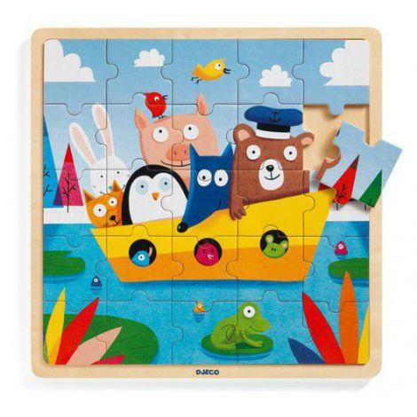 Puzzle lemn Djeco, Toti in barca
