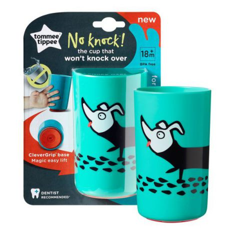 Cana No Knock Large, Tommee Tippee, 300 ml, Catelus Verde
