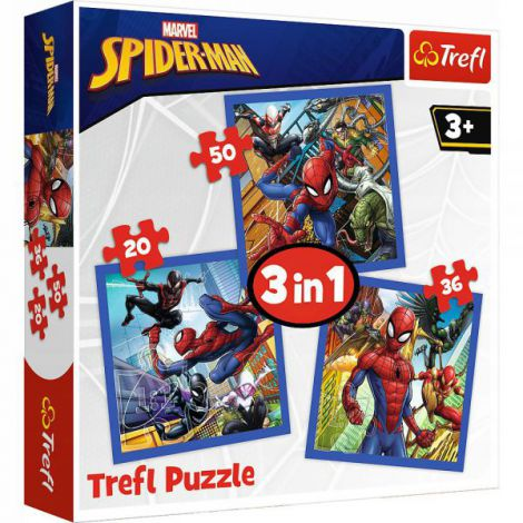 Set Puzzle 3 In 1 Trefl Marvel Spider Man, Forta Paianjenului, 1x20 Piese, 1x36 Piese, 1x50 Piese imagine