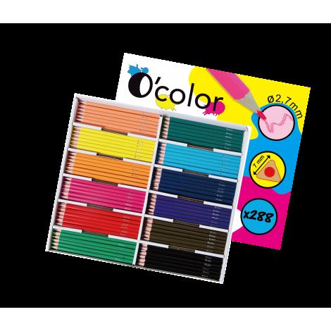 Set scolar 288 creioane colorate triunghiulare mina 2.7 mm