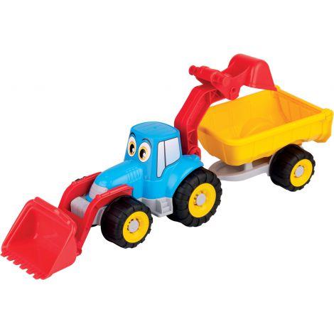 Tractor cu remorca, incarcator si cupa