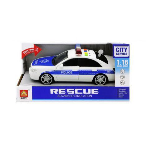 Masinuta De Politie Albastra Cu Frictiune Sunete Si Lumini Scara 1 La 16