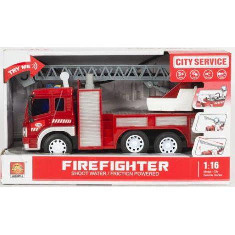Masinuta De Pompieri Cu Furtun Pentru Stropire Apa Frictiune Sunete Si Lumini Scara 1 La 16