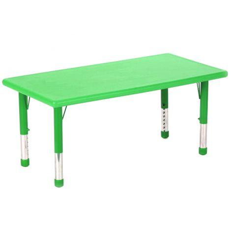 Masa dreptunghiulara verde din plastic reglabila marimea 0-3 pentru gradinita